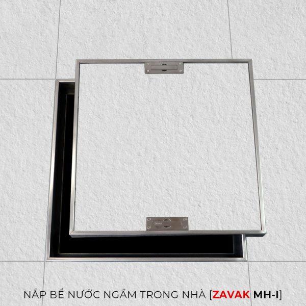 Nắp bể nước ngầm trong nhà Zavak MH-I, Inox 304, Nắp âm sàn lát gạch chống bụi chống nước
