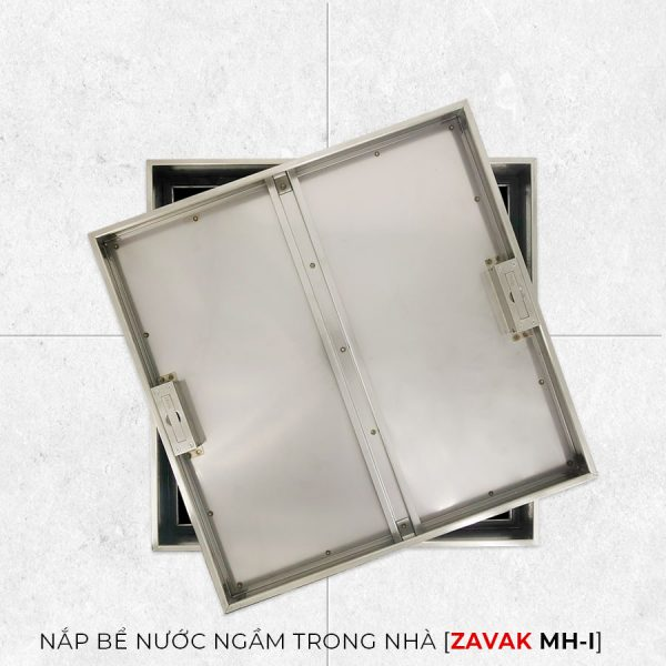 Nắp bể nước ngầm trong nhà Zavak MHI45. Nắp âm sàn bằng inox304, khung lát gạch 45x45cm
