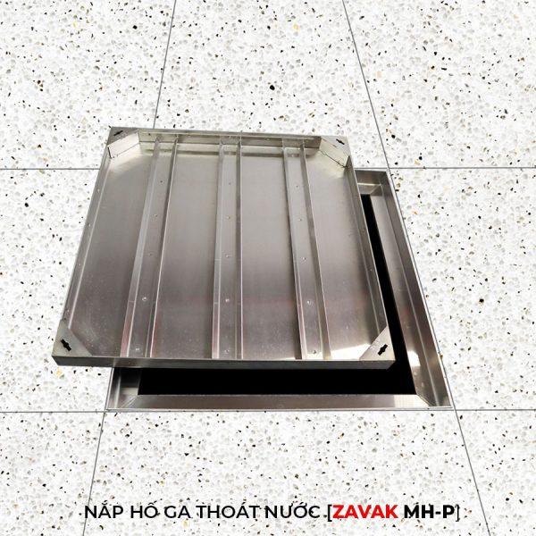 Nắp hố ga thoát nước mưa Zavak MH-P inox lát gạch kích thước 60x60
