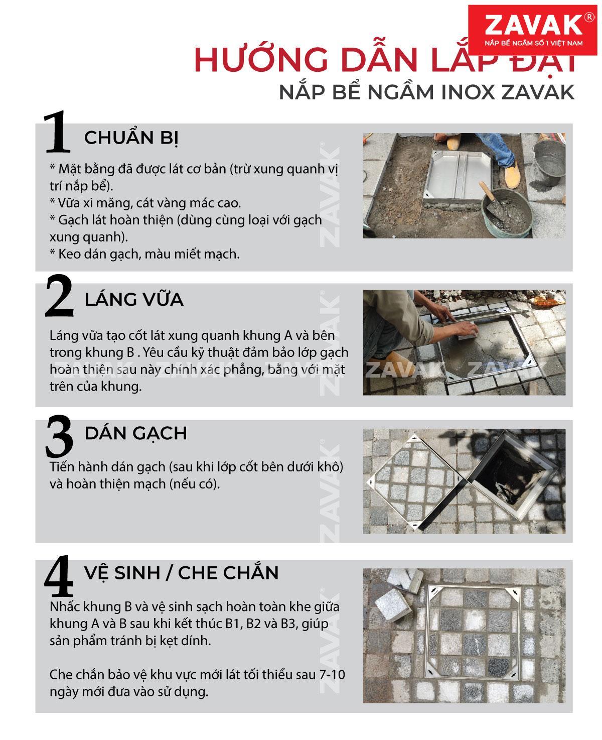 Hướng dẫn lắp đặt nắp bể ngầm inox Zavak lát gạch âm sàn