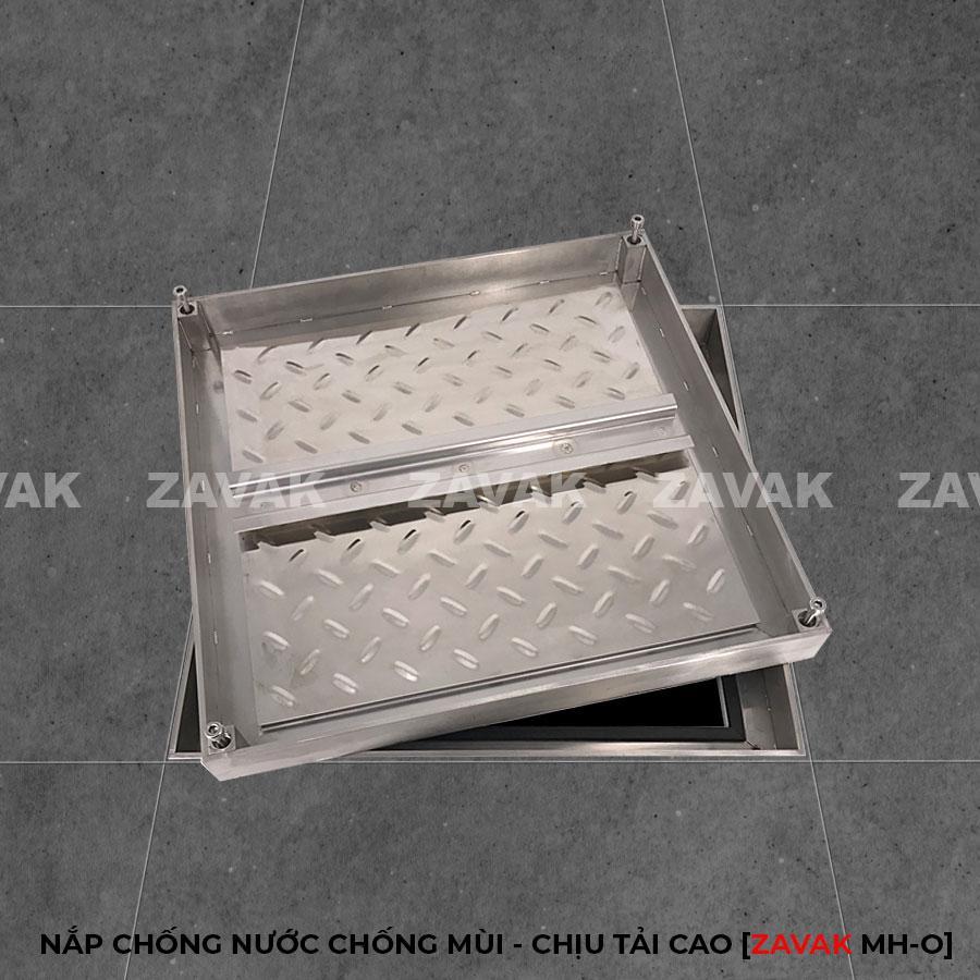 Nắp bể ngầm âm sàn inox, nắp hố ga inox chống mùi chịu tải cao ZAVAK MHO 45x45cm