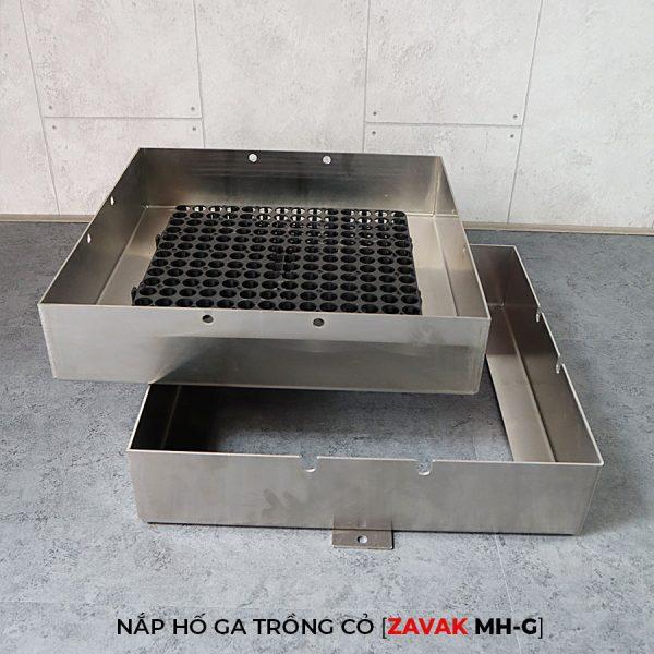 Khung Nắp hố ga inox ZAVAK MH-G trồng cỏ lên trên bề mặt sử dụng làm nắp đậy hố ga thoát nước sân vườn kích thươc 60x60cm