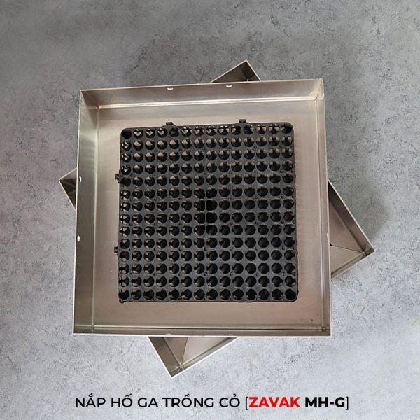 Khung Nắp hố ga inox ZAVAK MH-G trồng cỏ lên trên bề mặt sử dụng làm nắp đậy hố ga thoát nước sân vườn kích thươc 50x50cm