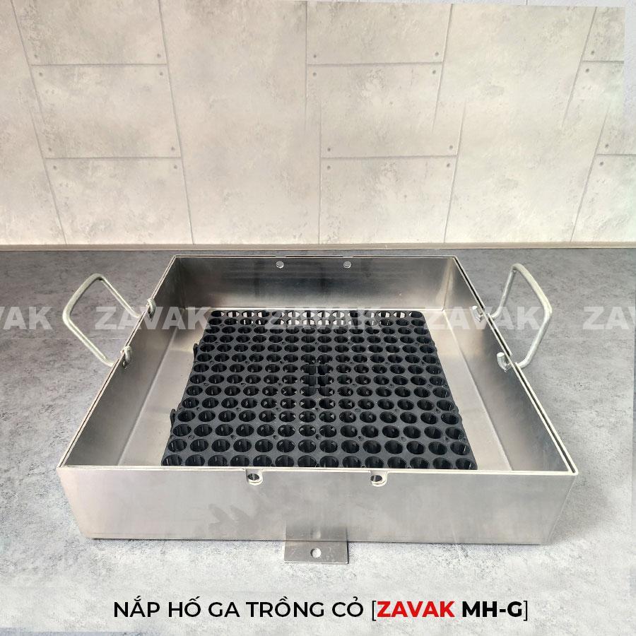 Khung Nắp hố ga inox ZAVAK MH-G trồng cỏ lên trên bề mặt sử dụng làm nắp đậy hố ga thoát nước sân vườn kích thươc 60x60cm kèm tay nâng