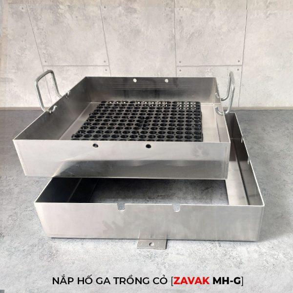 Khung Nắp hố ga inox ZAVAK MH-G trồng cỏ lên trên bề mặt sử dụng làm nắp đậy hố ga thoát nước sân vườn kt 60x60cm kèm tay nâng