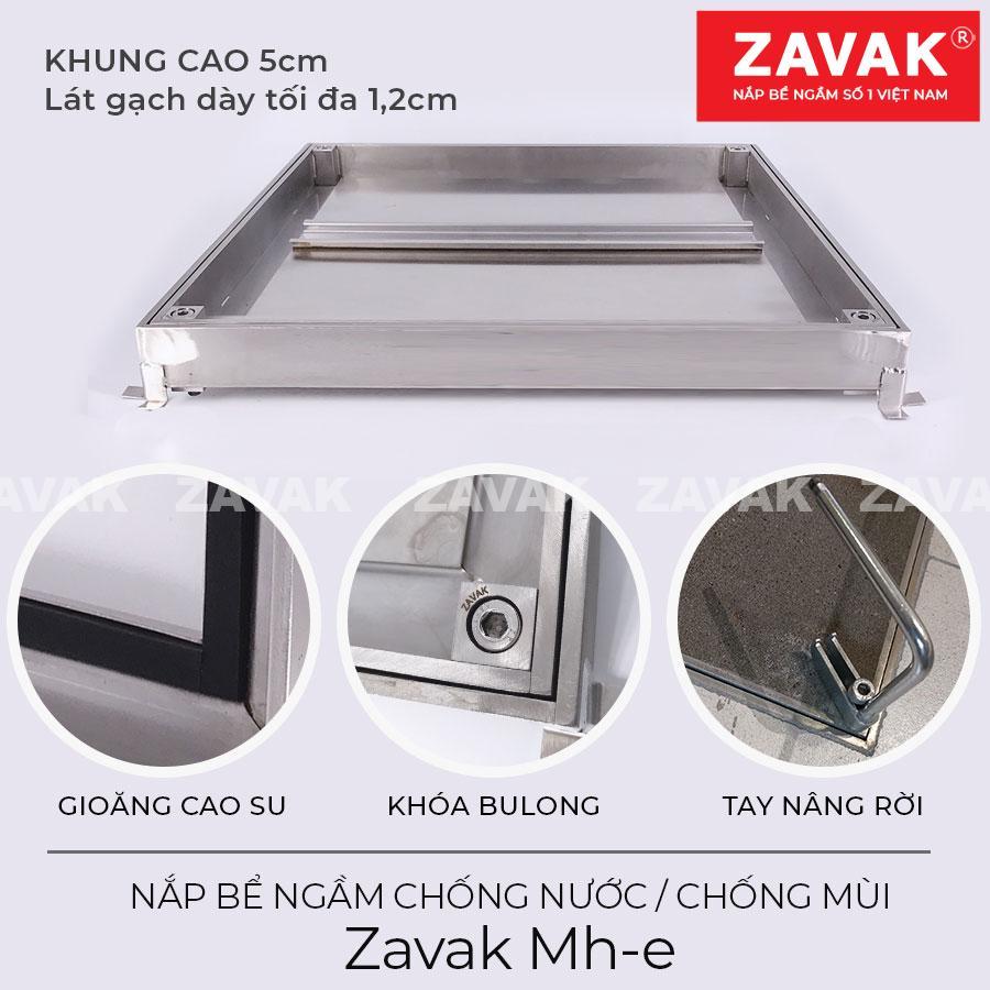 Cấu tạo Nắp bể nước ngầm chống nước ngoài trời, nắp hố ga chống mùi inox ZAVAK MH-E. lát gạch âm sàn