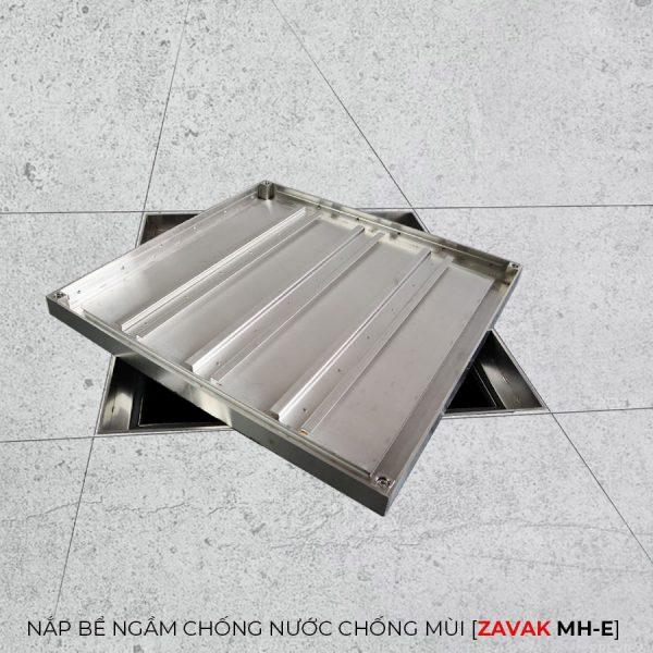 khung Nắp bể nước ngầm chống nước mưa nắp hố ga chống mùi hôi inox Zavak MH-E60 lát gạch 60x60cm