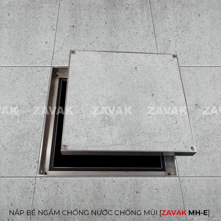 MHE50-Nắp bể nước ngầm chống nước mưa, nắp hố ga chống mùi inox ZAVAK. kích thước 50x50cm