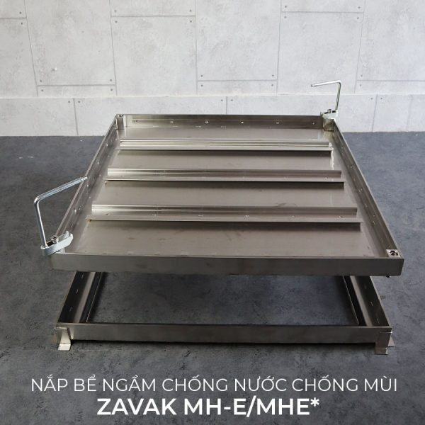 Nắp bể nước ngầm hố ga chống mùi âm sàn inox ZAVAK MH-E. KT lát gạch 60x60cm