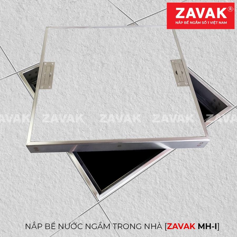 Nắp bể nước ngầm âm sàn inox Zavak MHI lát gạch mở nghiêng