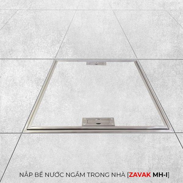 Nắp bể nước ngầm âm sàn inox Zavak MHI lát gạch phẳng với mặt sàn