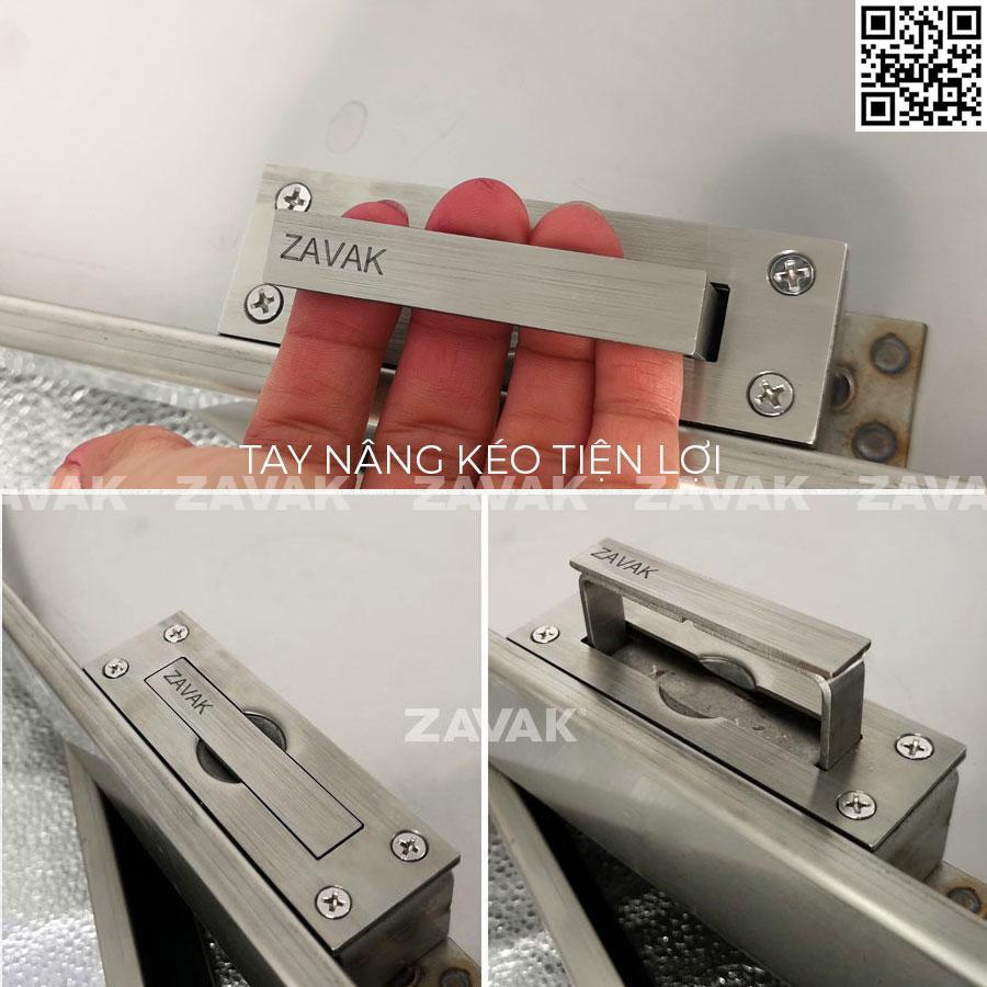 Nắp bể nước ngầm âm sàn lát gạch inox Zavak MHI tay nâng kéo
