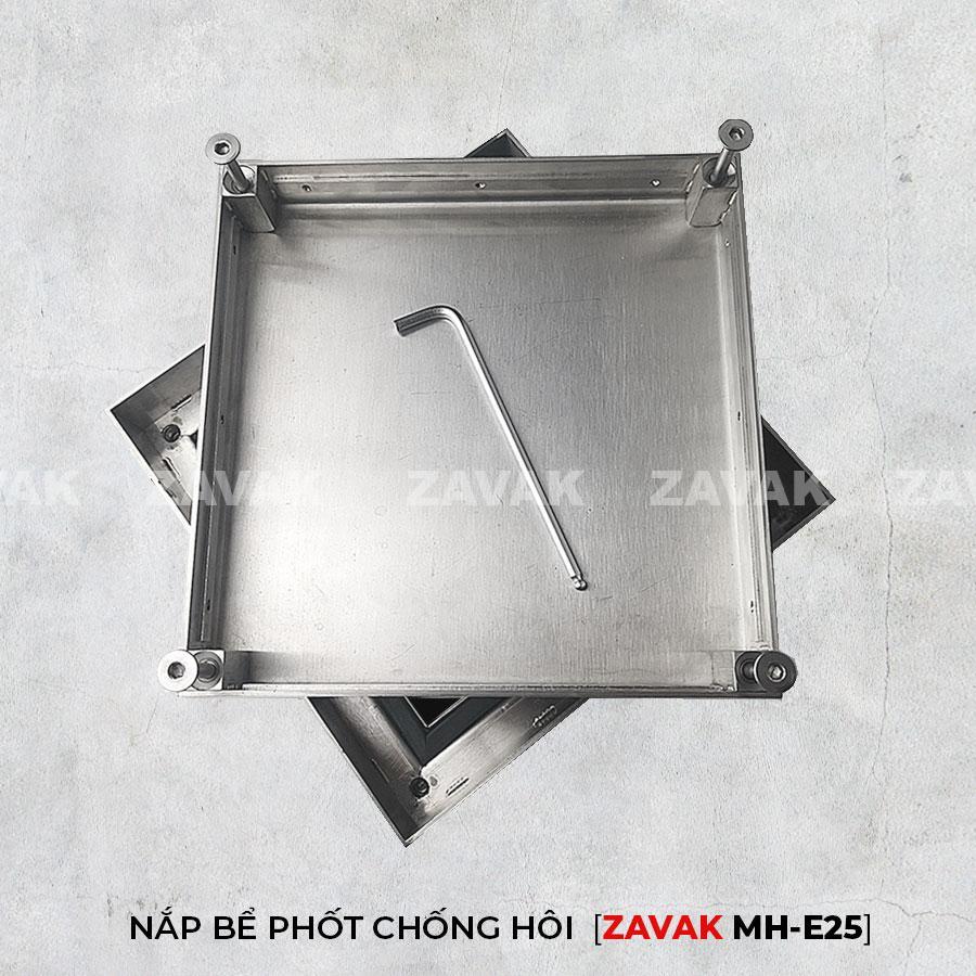 nắp hố ga nước thải nắp bể phốt inox chống mùi zavak mhe25 lát gạch 25x25cm