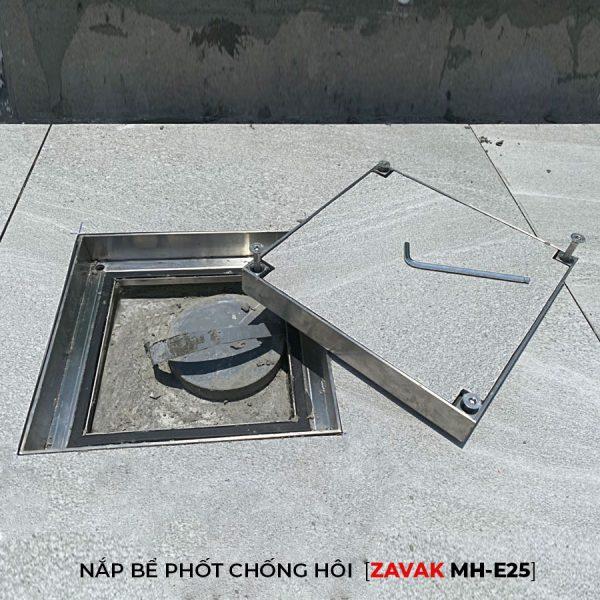 nắp hố ga nước thải, nắp bể phốt inox chống mùi zavak mhe25 lát gạch kt 25x25
