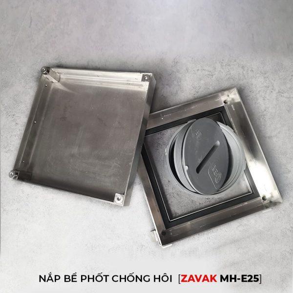 nắp hố ga nắp bể phốt inox chống mùi zavak mhe25 kích thước 25x25cm