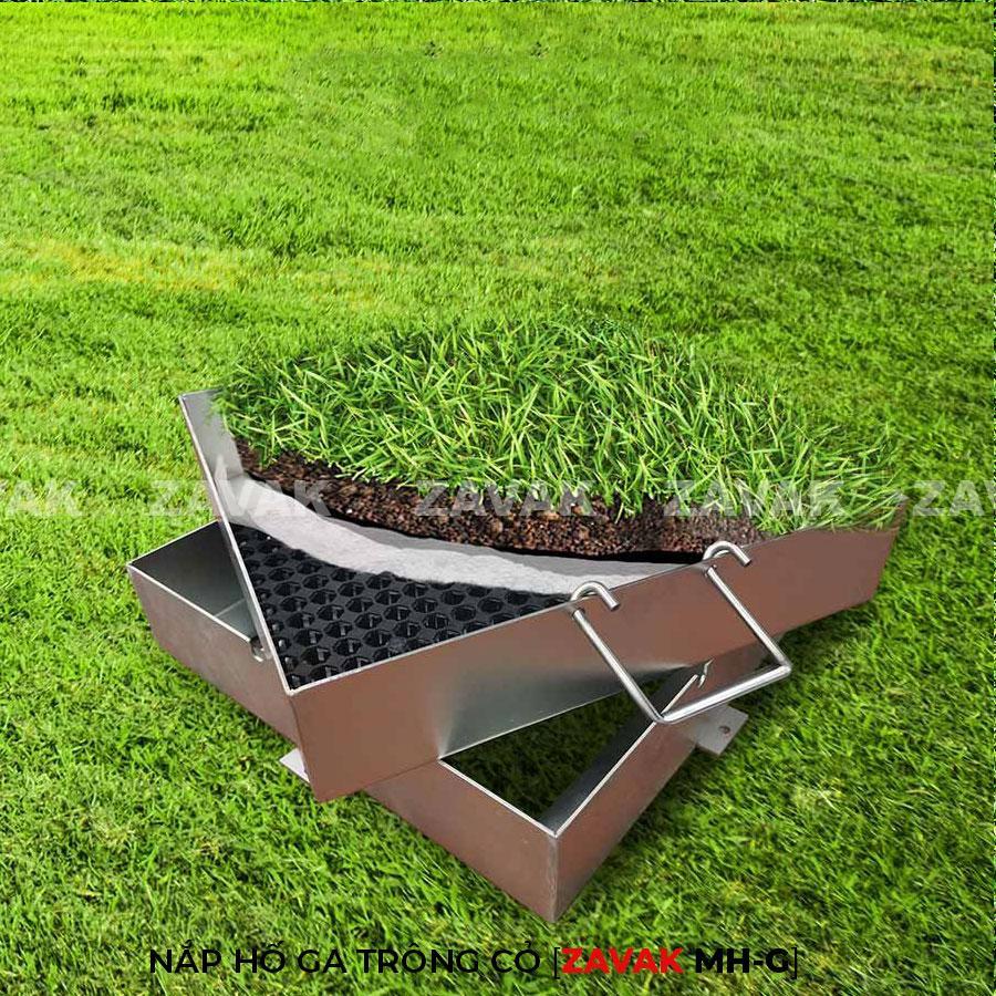 Nắp hố ga bằng inox ZAVAK MH-G trồng cỏ lên trên bề mặt sử dụng làm nắp đậy hố ga sân vườn thẩm mỹ tiện lợi