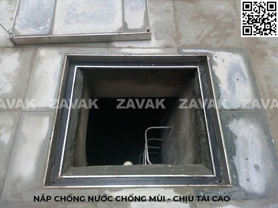 Lắp đặt nắp thăm bể nước nắp bể ngầm âm sàn nắp hố ga inox Zavak
