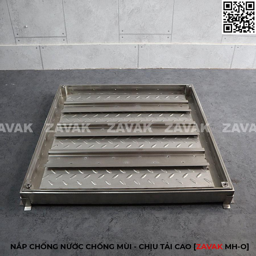Nắp thăm bể nước ngầm inox, nắp hố ga inox Zavak MH-O kích thước 60x60