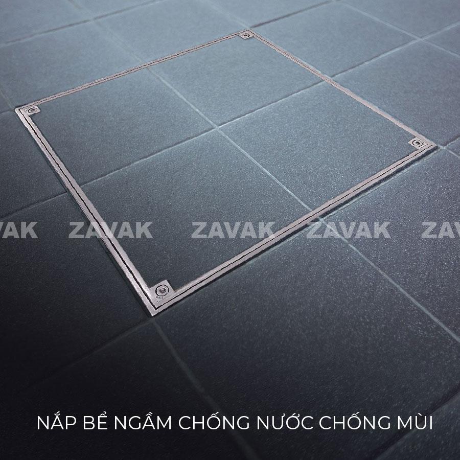 Nắp bể ngầm chống nước chống mùi ZAVAK chịu tải cao lát gạch đá lên trên bề mặt