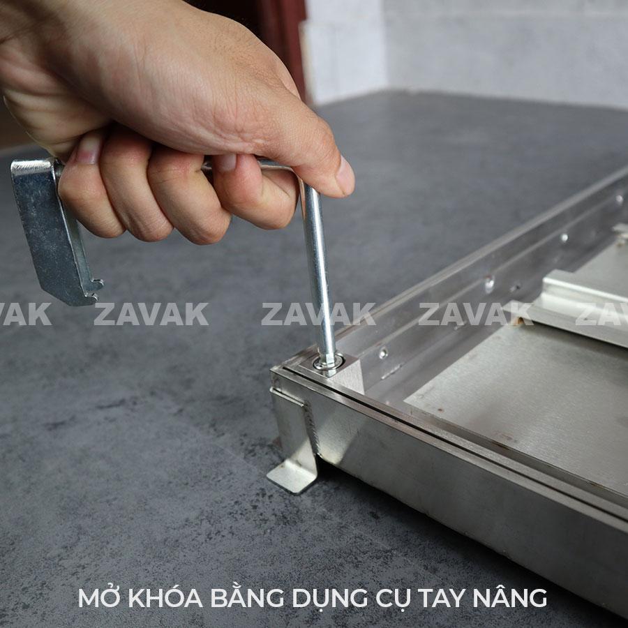 Tay nâng Nắp bể nước ngầm chống nước mưa, nắp hố ga chống mùi inox ZAVAK