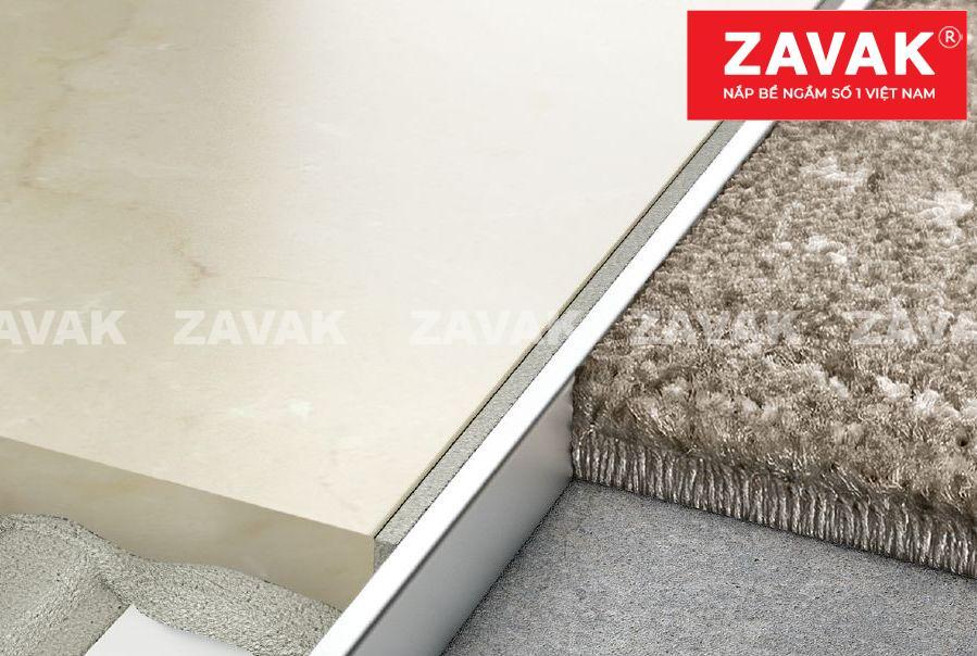 Nẹp âm sàn inox Zavak, nẹp gạch inox, nẹp trang trí inox304